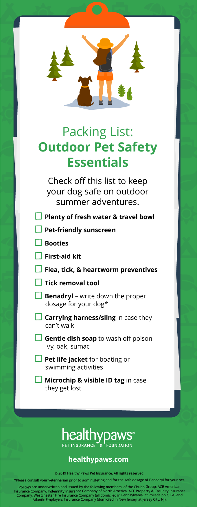 outdoor safety with pets packing check list