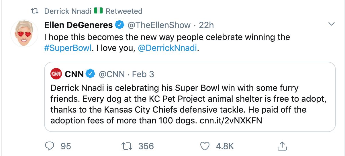 Tweet from Ellen DeGeneres