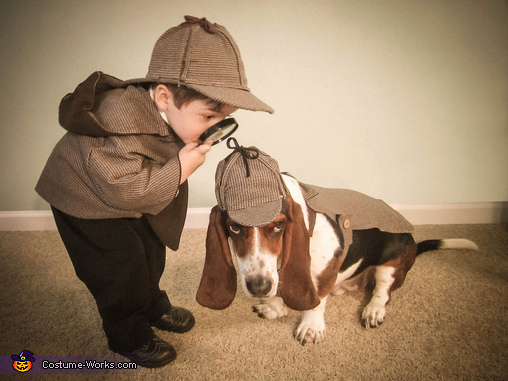 Sherlock Holmes and Watson Halloween costume for dogs and kids