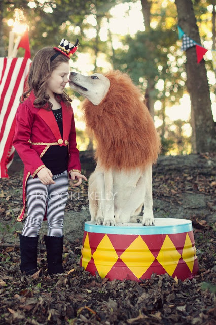 Circus Halloween costumes for dogs and kids
