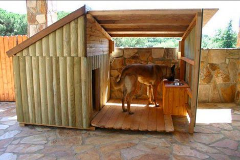 Shepherd dog in custom doghouse