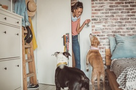 Pet sitter entering home