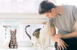 Man with cat and Pretty Litter
