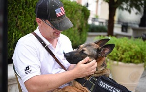A soldier and his dog