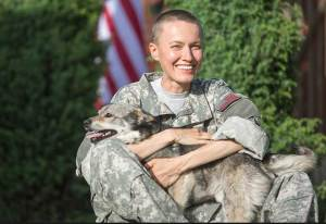 a military veteran with a dog.